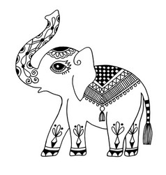 Elephant painted tribal ornament indian vintage vector