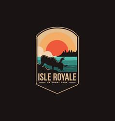 Emblem patch logo isle royale national park vector