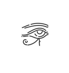 eye ra flat outline icon egypt concept vector image