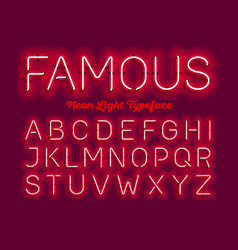 Famous neon light typeface vector