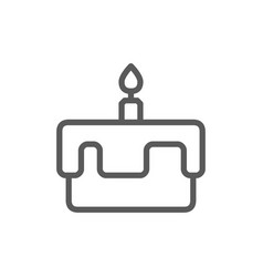 first birthday cake line icon isolated on white vector image