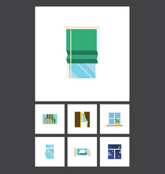 Flat icon window set of balcony glass frame and vector