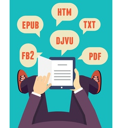 flat mobile reader with different formats vector image