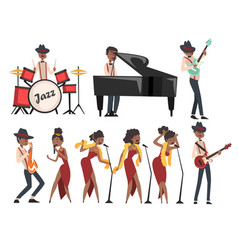 Flat set of jazz artists characters vector