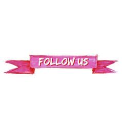 Follow us ribbon vector