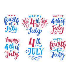 fourth of july hand written ink lettering set vector image