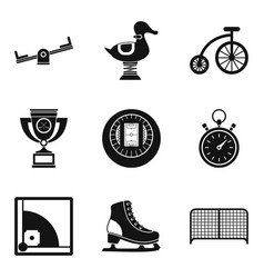 Game place icons set simple style vector