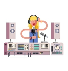 Girl singing in sound recording studio vector image