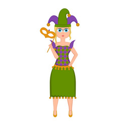 Girl with a mardi gras costume vector