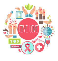 Give love social charity poster for blood vector