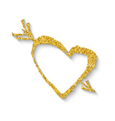 golden heart with an arrow vector image