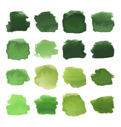 Green blots watercolor set vector