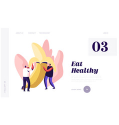 healthy food website landing page young men vector image