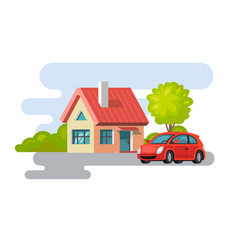 House village property building with car vector