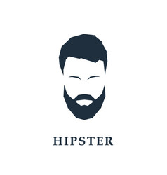 icon of man with mustache and beard hipster vector image