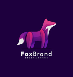 logo fox gradient colorful style vector image