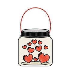 Mason jar with hearts isolated icon vector