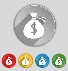 Money bag icon sign Symbol on five flat buttons vector image
