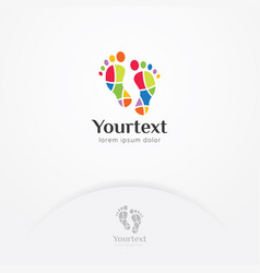 mosaic footprint logo design vector image