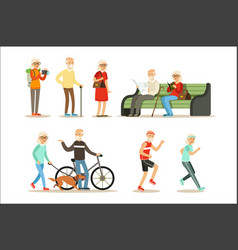 old people living full live and enjoying their vector image