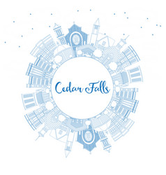 outline cedar falls iowa skyline with blue vector image