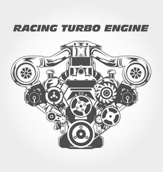Racing engine with supercharger power - turbo moto vector