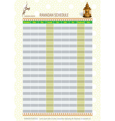 Ramadan calendar schedule - fasting and prayer vector