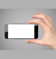 realistic hand holding mobile phone vector image