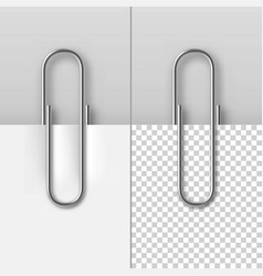 realistic metal paper clips on paper sheets set vector image