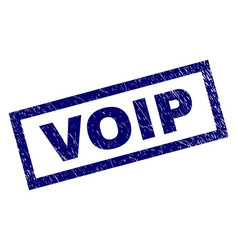 Rectangle grunge voip stamp vector