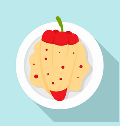 red paprika cheese icon flat style vector image