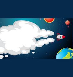 rocket flying in space vector image