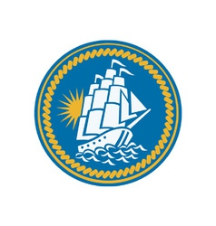 Sailing Tall Ship Galleon Retro vector image