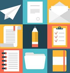 Set flat design document icons paper document vector