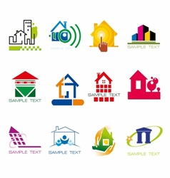Set of logos construction and houses stock vector image