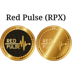 Set of physical golden coin red pulse rpx vector