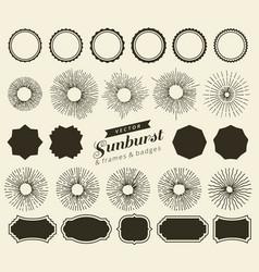 set vintage sunbursts badges and frames for vector image