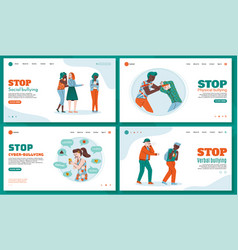 set web pages to stop bullying with teenagers vector image
