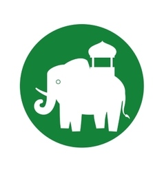 Silhouette indian elephant festival green vector