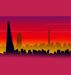 Silhouette of london city with red background vector