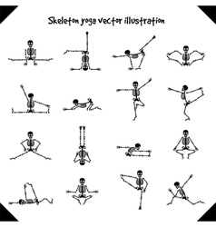 Skeletons in yoga poses vector