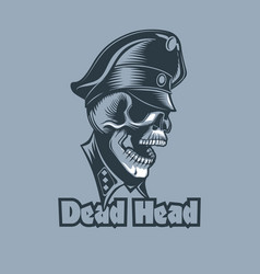 skull in uniforms with the inscription dead head vector image