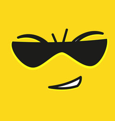 smile icon template design with sunglasses smile vector image