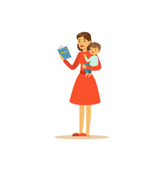 Super mom character with child reading book vector