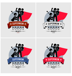 Super mommy or supermom logo design vector