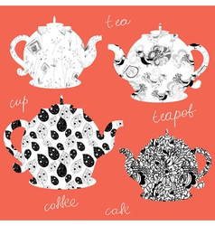 Teapots icons with floral patterns vector image