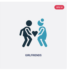 two color girlfriends icon from people concept vector image