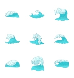 Types of waves icons set cartoon style vector image