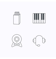 Web camera headphones and Usb flash icons vector image
