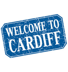 Welcome to cardiff blue square grunge stamp vector